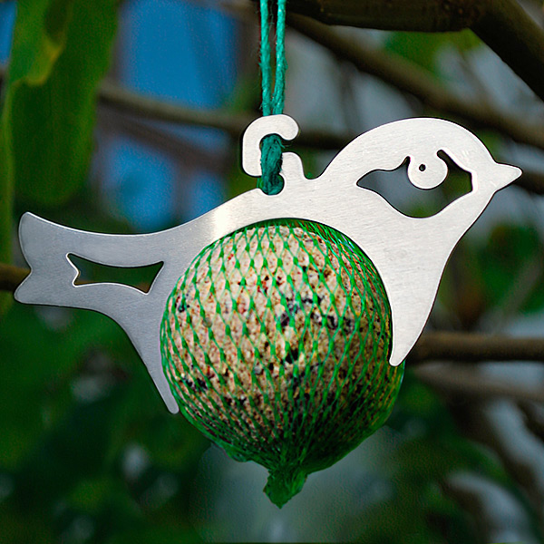 Silhouette Bird Feeder with Fat Ball