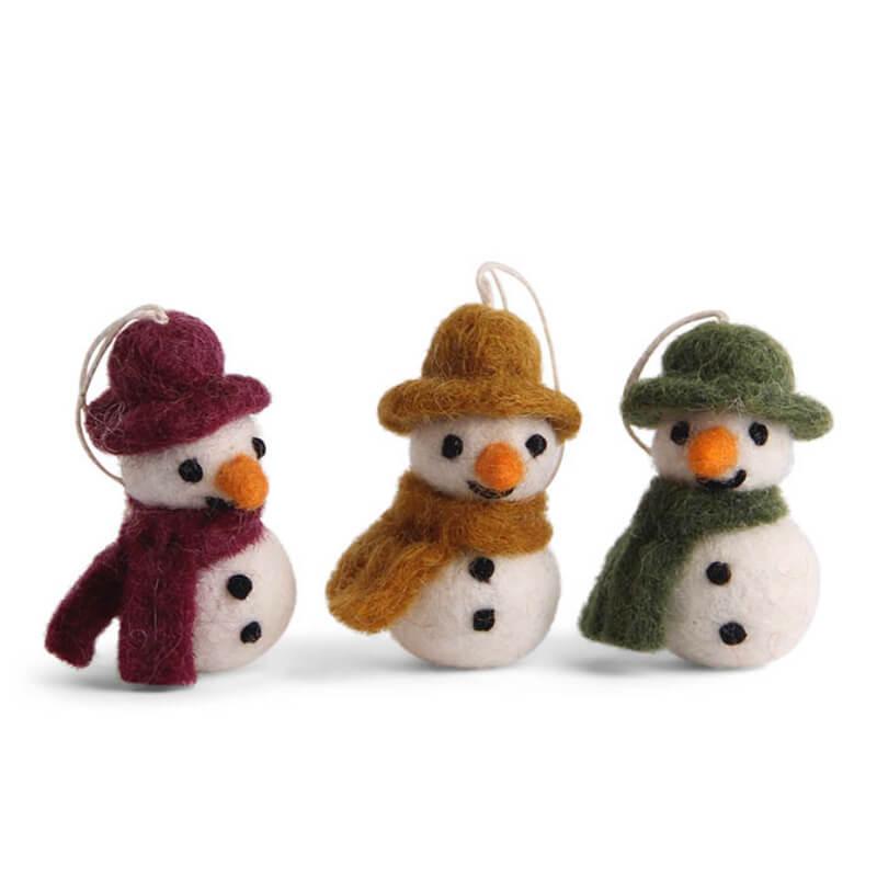3 Felt Snowmen