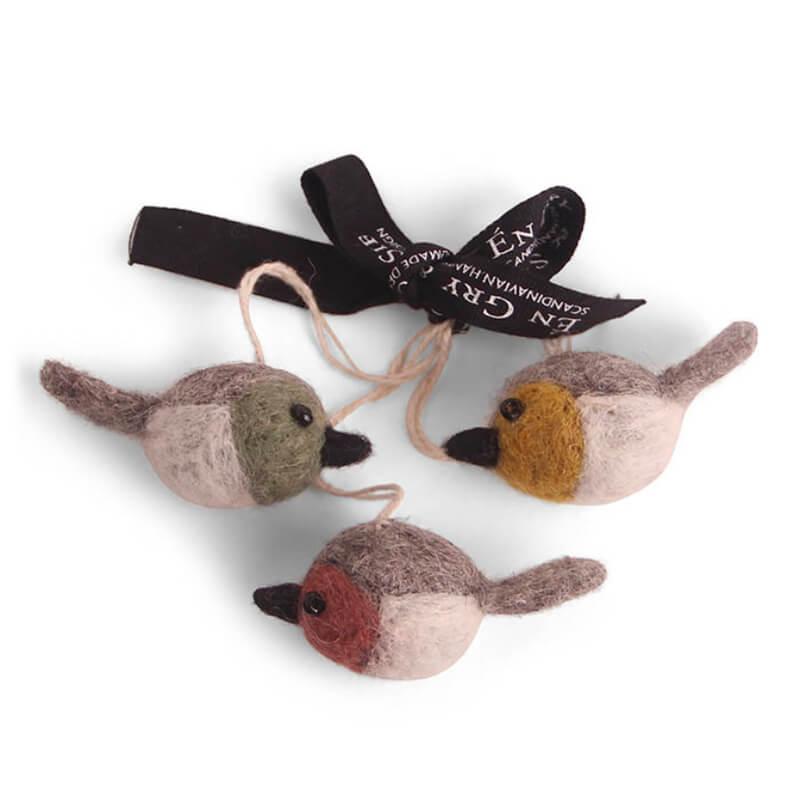 Felt Birds Trio Mixed Colours