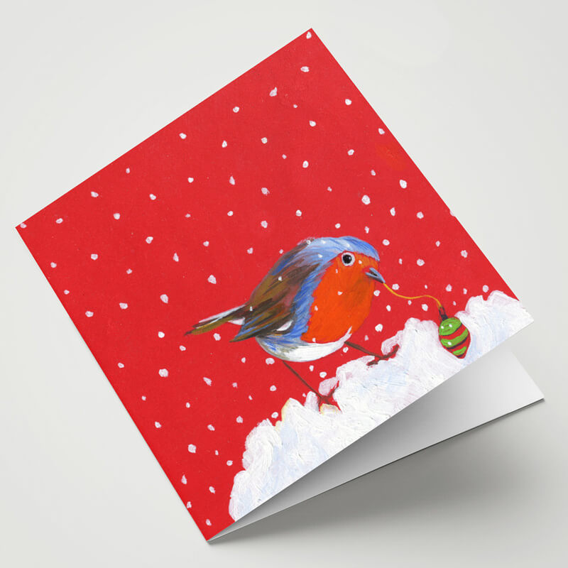 Maggie O'Dwyer Robin with Bauble Card