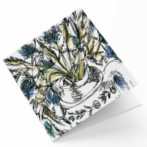Maggie O'Dwyer Art Cards - Blue Thistles and Teapot