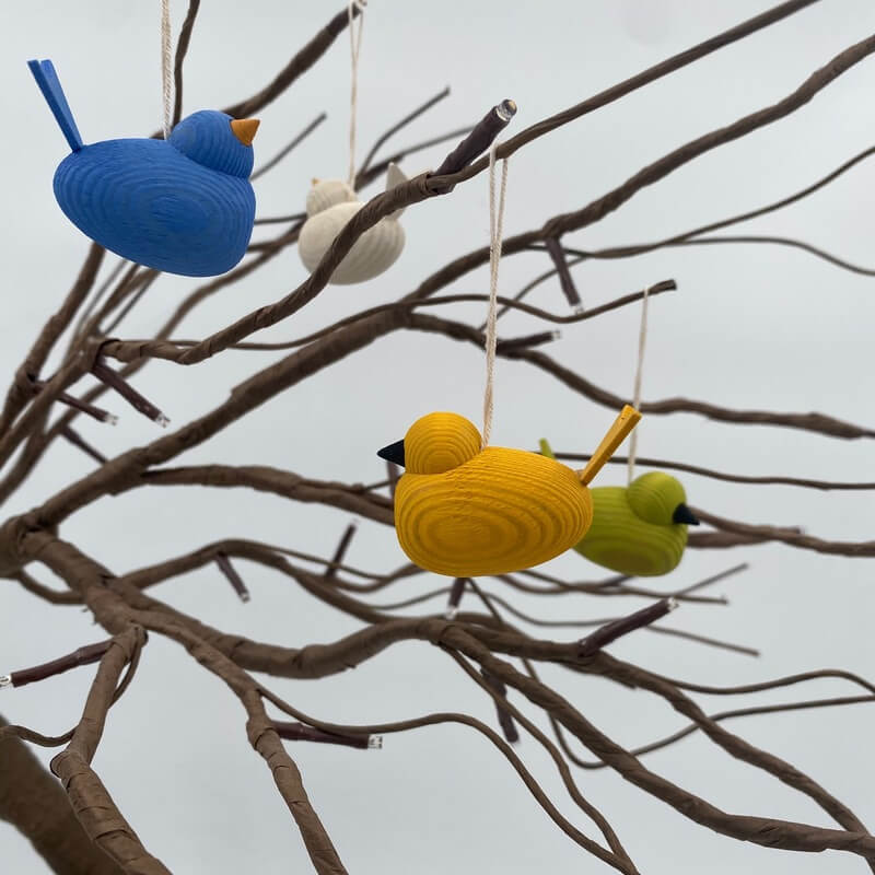 Hanging Wooden Bird Decoration
